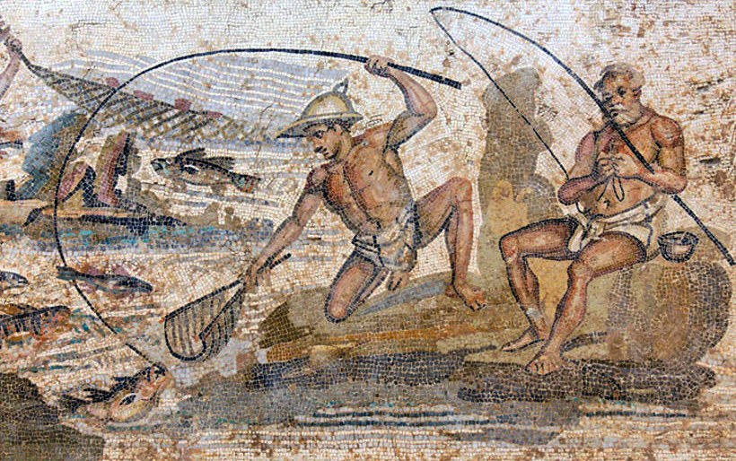 Mosaics depicting roman ports and maritime trade roman ports for History of fishing